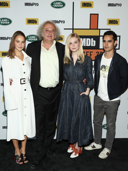 Elle Fanning Denim Dress [event,premiere,fashion,carpet,flooring,fashion design,style,max minghella,elle fanning,zlatko buric,clara rugaard,by land rover,l-r,teen spirit,bisha hotel residences,imdb studio,toronto international film festival]