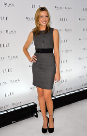 Katie Cassidy was the picture of maturity in a pair of timeless black suede pumps. The actress paired the versatile footwear with a chic gray sheath dress.