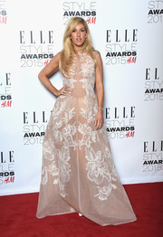 Ellie Goulding arrived at the 2015 Elle Style Awards in a stunningly glamourous gown in a lovely blush color.