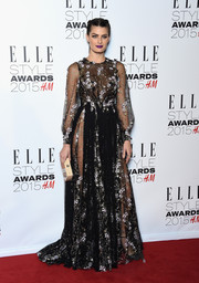 Isabeli Fontana went for a fairy-tale-princess-with-a-sexy-twist look in a sheer, floral-embroidered black gown by Ralph & Russo Couture during the Elle Style Awards.
