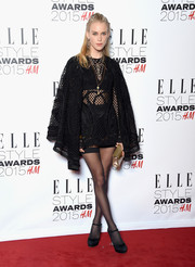Mary Charteris was sexy-goth in a black Dolce & Gabbana net cape and a matching LBD at the Elle Style Awards.