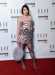 Elle Catliff went for a breezy red carpet look with a pair of pink print shorts during the Elle Style Awards.