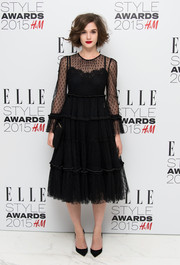 Sai Bennett was lovely in a lacy LBD by Dolce & Gabbana at the Elle Style Awards.