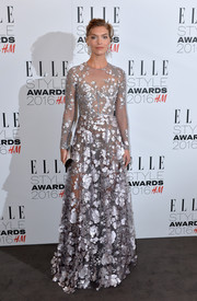 Arizona Muse looked enchanting at the Elle Style Awards in a Ralph & Russo sheer gown with silver flower appliques.