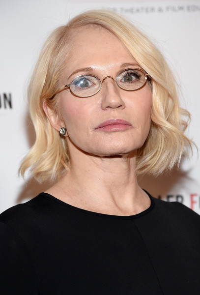 Ellen Barkin Short Wavy Cut [arthur miller,ellen barkin,eyewear,hair,face,glasses,blond,hairstyle,eyebrow,chin,head,lip,new york city,lyceum theatre]