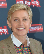 Ellen DeGeneres sported a textured short 'do at the launch of Duracell's Power a Smile Program.