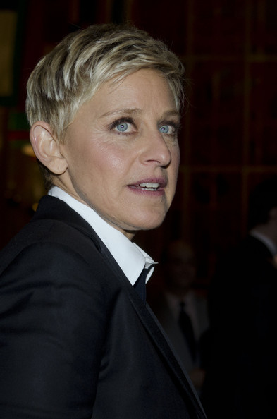Ellen DeGeneres Boy Cut [hair,suit,chin,hairstyle,blond,formal wear,cheek,forehead,tuxedo,official,mark twain prize for american humor,red carpet,washington dc,john f. kennedy center for the performing arts,reporters,ellen degeneres]