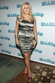 Jennifer Coolidge dons a ruched metallic off the shoulder dress to the 'Elling' Broadway After Party in NY.