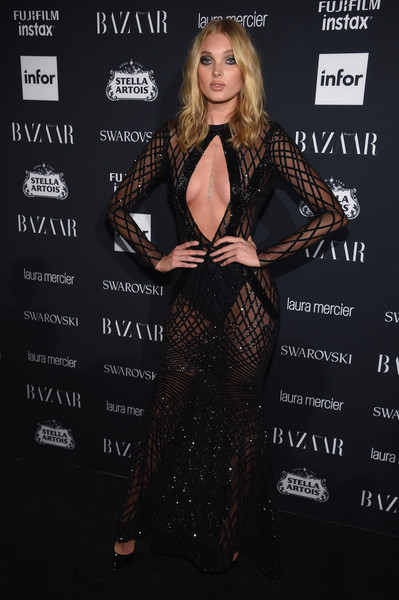Elsa Hosk Sheer Dress [clothing,dress,fashion,carpet,fashion model,leg,long hair,premiere,formal wear,brown hair,carine roitfeld,stella artois,laura mercier,icons,swarovski - red carpet,harpers bazaar celebrates,plaza hotel,infor,fujifilm,harpers bazaar celebration]