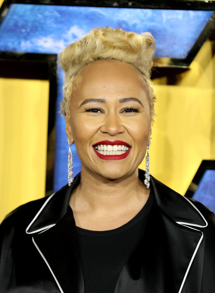 Emeli Sande Fauxhawk [european premiere of black panther,hair,face,eyebrow,facial expression,blond,lip,hairstyle,forehead,head,chin,red carpet arrivals,black panther,emeli sande,european,england,london,eventim apollo,premiere]