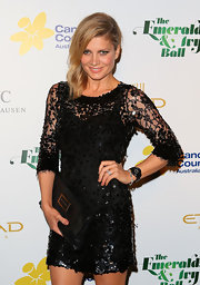 Natalie Bassingthwaighte stepped out at a charity ball wearing a black sequined dress.