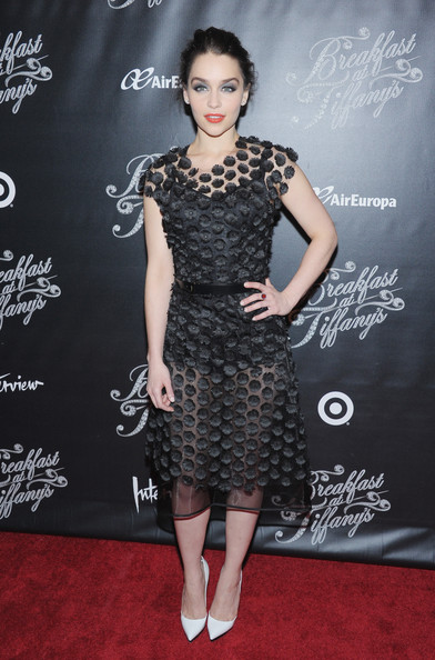 Emilia Clarke Little Black Dress [breakfast at tiffanys,fashion model,little black dress,dress,flooring,cocktail dress,shoulder,fashion,catwalk,carpet,joint,emilia clarke,actress,the edison ballroom,new york city,broadway opening night,party,party]