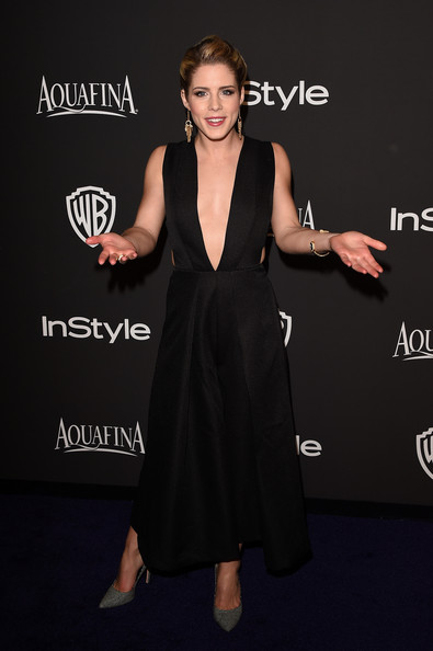 Emily Bett Rickards Cutout Dress [dress,clothing,little black dress,carpet,fashion,cocktail dress,hairstyle,premiere,shoulder,footwear,emily bett rickards,post-party - arrivals,beverly hills,california,the beverly hilton hotel,instyle,warner bros. 72nd annual golden globe awards,warner bros. 72nd annual golden globe awards post-party]