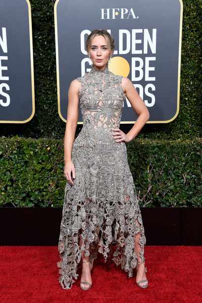 Emily Blunt Lace Dress [red carpet,carpet,dress,clothing,fashion,premiere,flooring,fashion model,haute couture,gown,arrivals,emily blunt,the beverly hilton hotel,beverly hills,california,golden globe awards]