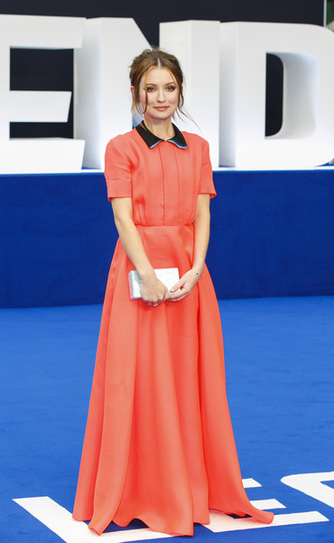 Emily Browning Shirtdress [uk premiere of ``legend,clothing,orange,fashion model,carpet,flooring,shoulder,dress,fashion,hairstyle,electric blue,red carpet arrivals,emily browning,legend,uk,london,england,odeon leicester square,premiere]
