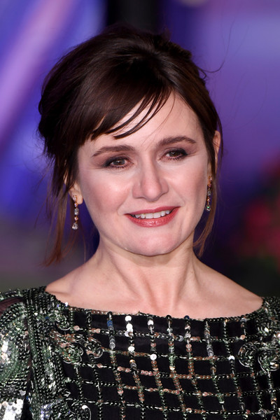 Emily Mortimer Messy Updo [mary poppins returns,hair,hairstyle,eyebrow,chin,beauty,bangs,forehead,smile,lip,brown hair,red carpet arrivals,emily mortimer,european,england,london,royal albert hall,premiere,european premiere]