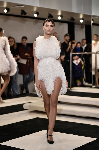 Emily Ratajkowski Cocktail Dress [shows,fashion model,fashion,fashion show,white,runway,clothing,haute couture,dress,shoulder,beauty,tomo koizumi,emily ratajkowski,tomo koizumi - runway,runway,marc jacobs madison,new york city,new york fashion week,fashion show]