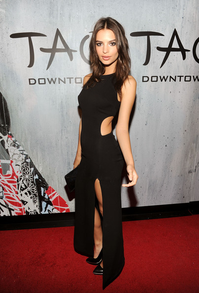 Emily Ratajkowski Cutout Dress [clothing,red carpet,fashion model,shoulder,dress,premiere,carpet,fashion,joint,flooring,nyc,tao downtown grand opening,emily ratajkowski]