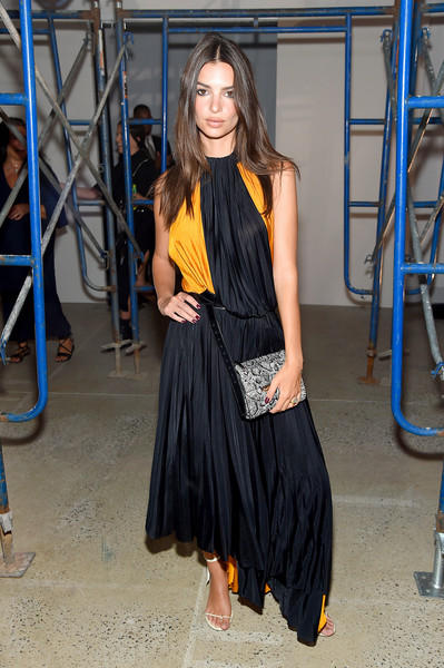 Emily Ratajkowski Maxi Dress [shows,clothing,fashion,dress,fashion model,street fashion,fashion design,footwear,long hair,little black dress,electric blue,emily ratajkowski,the shows,front row,new york city,proenza schouler,new york fashion week]