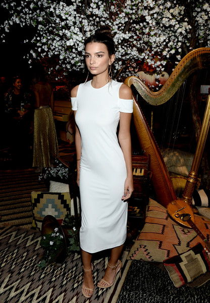 Emily Ratajkowski Midi Dress [backstage,white,clothing,dress,fashion,fashion model,shoulder,fashion design,cocktail dress,formal wear,haute couture,stacey bendet,emily ratajkowski,neiman marcus present,front row,neuehouse los angeles,california,alice olivia,neiman marcus,see-now-buy-now runway show]