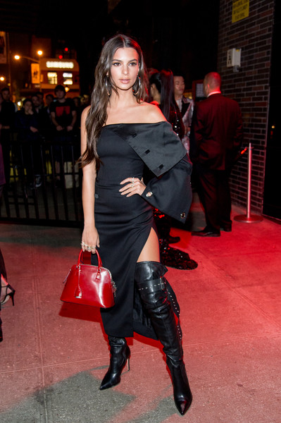 Emily Ratajkowski Off-the-Shoulder Dress [rei kawakubo/comme des garcons: art of the in-between,rei kawakubo/comme des garcons: art of the in-between,clothing,latex clothing,thigh,footwear,fashion,leg,dress,latex,boot,event,emily ratajkowski,standard hotel,new york city,parties,costume institute gala,costume institute gala after party]