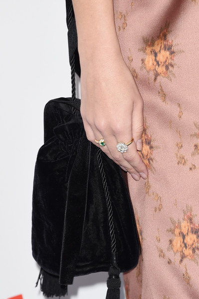 Emily Ratajkowski Diamond Ring [black,bag,leather,fur,handbag,fashion,hand,wrist,fashion accessory,outerwear,arrivals,emily ratajkowski,film independent spirit awards,handbag/ring detail,santa monica,california]