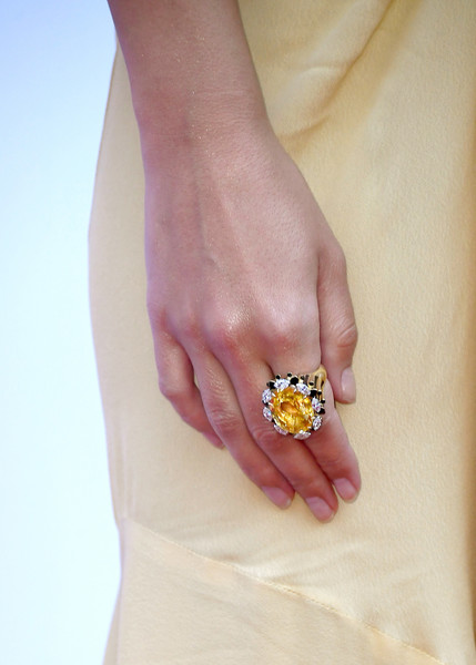 Emily Ratajkowski Gemstone Ring [ring,nail,yellow,jewellery,finger,fashion accessory,hand,diamond,engagement ring,body jewelry,arrivals,emily ratajkowski,fashion detail,beverly hills hotel,california,daily front row,4th annual fashion los angeles awards]