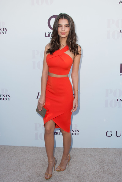Emily Ratajkowski Strappy Sandals [the hollywood reporter,clothing,dress,red,shoulder,fashion model,cocktail dress,fashion,hairstyle,leg,waist,women in entertainment breakfast,annual women in entertainment breakfast,emily ratajkowski,los angeles,california,milk studios]