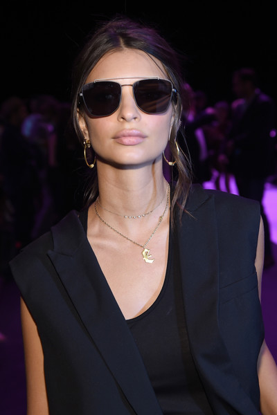 Emily Ratajkowski Gold Hoops [the shows,shows,eyewear,hair,sunglasses,hairstyle,fashion,lip,beauty,fashion model,cool,vision care,emily ratajkowski,front row,skylight,moynihan station,new york city,the arc,vera wang collection,new york fashion week]
