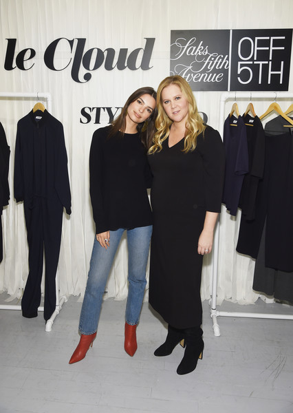 Emily Ratajkowski Classic Jeans [fashion,event,outerwear,little black dress,footwear,premiere,fashion design,style,amy schumer,leesa evans host,emily ratajkowski,off 5th,new york city,saks,le cloud launch]