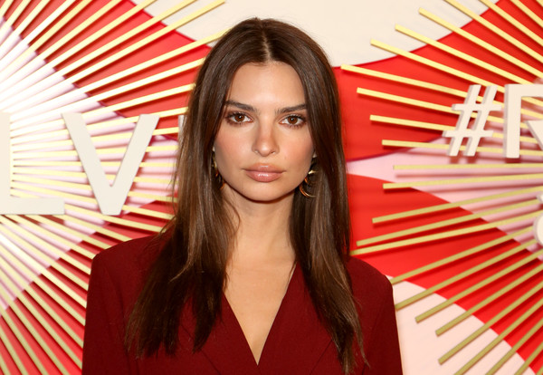 Emily Ratajkowski Long Straight Cut [hair,hairstyle,beauty,red,lip,long hair,fashion,layered hair,brown hair,eyelash,emily ratajkowski,actress,revolve,revolveawards,second annual revolveawards,las vegas,nevada,palms casino resort]