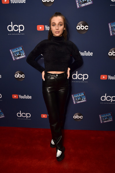 Emma Chamberlain Leather Lace-ups [show,clothing,carpet,footwear,red carpet,premiere,leather,flooring,leggings,trousers,shoe,dick clarks new years rockin eve with ryan seacrest 2020 hollywood party,emma chamberlain,california,los angeles,hollywood party arrivals]