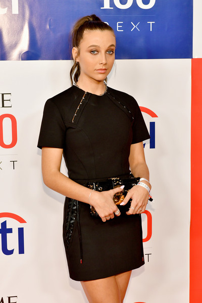 Emma Chamberlain Box Clutch [emma chamberlain,clothing,dress,shoulder,hairstyle,fashion,little black dress,cocktail dress,premiere,model,fashion model,pier 17,new york city]