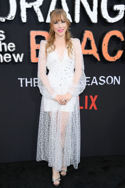 Emma Myles Strappy Sandals [orange is the new black,clothing,dress,fashion,premiere,cocktail dress,flooring,shoulder,event,long hair,carpet,emma myles,new york city,lincoln center,alice tully hall,final season world premiere]