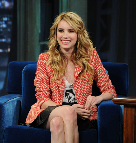 Emma Roberts Long Curls [sitting,blond,television presenter,outerwear,long hair,electric blue,photography,newscaster,blazer,late night with jimmy fallon,new york city,rockefeller center,celebrities,emma roberts]