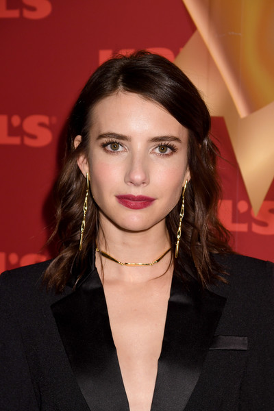 Emma Roberts Berry Lipstick [holiday season,hair,hairstyle,eyebrow,lip,beauty,chin,brown hair,forehead,long hair,black hair,kohl,emma roberts,new gifts at every turn,pop-up,new york city,kohl\u00e2,holiday pop-up opening event]