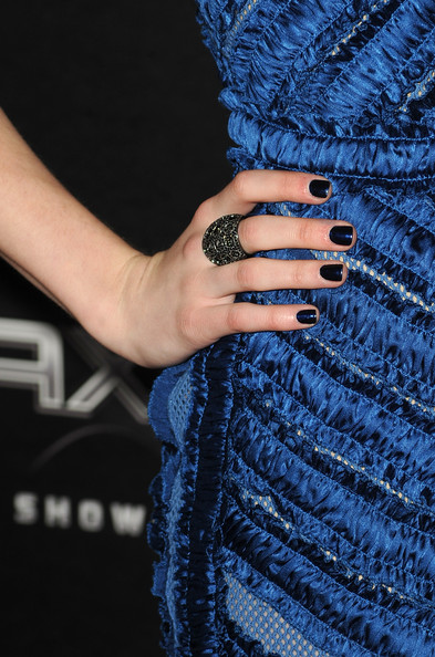Emma Roberts Dark Nail Polish [scream 4,cobalt blue,blue,nail,electric blue,hand,finger,ring,nail care,dress,outerwear,arrivals,emma roberts,grauman,california,hollywood,chinese theatre,the weinstein company,premiere,premiere]
