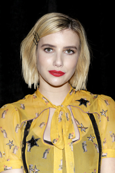 Emma Roberts Bob [spring 2018 runway show,hair,face,blond,lip,yellow,hairstyle,eyebrow,fashion,beauty,chin,coach,emma roberts,nyfw - backstage,new york city,basketball city - pier 36 - south street,fashion show,spring 2019,new york fashion week]