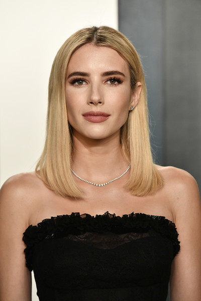 Emma Roberts Mid-Length Bob [photograph,hair,face,blond,shoulder,hairstyle,clothing,beauty,dress,eyebrow,long hair,radhika jones,radhika jones - arrivals,emma roberts,actor,hair,wallis annenberg center for the performing arts,oscar party,vanity fair,party,radhika jones,wallis annenberg center for the performing arts,oscar party,vanity fair,academy awards,party,emma.,actor,photograph]
