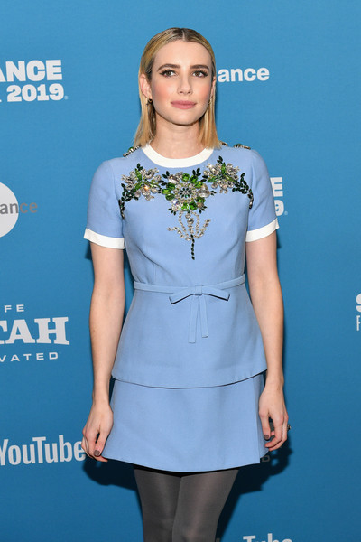 Emma Roberts Embellished Top [clothing,white,hairstyle,dress,fashion,electric blue,cocktail dress,fashion model,footwear,premiere,emma roberts,sundance film festival,premiere,paradise hills premiere,paradise hills,utah,park city,library center theater]