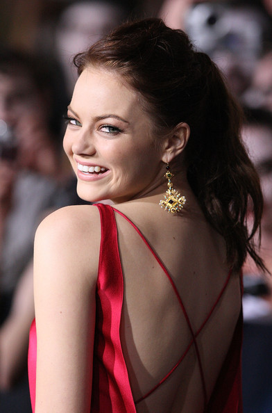 Emma Stone Gold Dangle Earrings