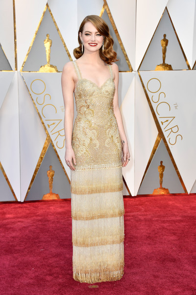 Emma Stone Fringed Dress [gown,flooring,carpet,dress,fashion model,beauty,red carpet,lady,cocktail dress,shoulder,arrivals,emma stone,actor,academy awards,red carpet,carpet,89th academy awards,dress,hollywood highland center,89th annual academy awards,emma stone,89th academy awards,hollywood,academy awards,red carpet,actor,la la land,academy award for best actress,academy awards pre-show]