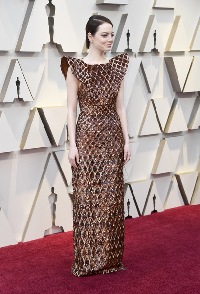 Emma Stone Sequin Dress [dress,clothing,carpet,shoulder,red carpet,fashion model,flooring,gown,fashion,joint,arrivals,emma stone,academy awards,hollywood,highland,california,annual academy awards]