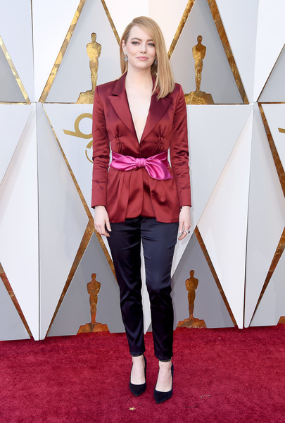 Emma Stone Fitted Jacket [red,pink,footwear,fashion model,flooring,fashion,purple,magenta,carpet,outerwear,arrivals,emma stone,academy awards,hollywood highland center,california,90th annual academy awards]