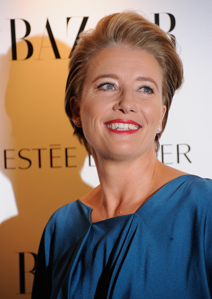 Emma Thompson Red Lipstick [hair,face,hairstyle,eyebrow,chin,skin,blond,shoulder,forehead,smile,arrivals,harpers bazaar women of the year awards,emma thompson,harpers bazaar women of the year awards,london,england]