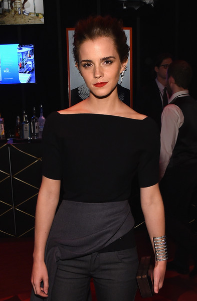 Emma Watson Cuff Bracelet [100 most influential people in the world,shoulder,clothing,fashion,joint,dress,beauty,hairstyle,lip,fashion model,arm,emma watson,time 100 gala,cocktails,new york city,time]