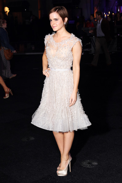 Emma Watson Cocktail Dress [harry potter and the deathly hallows part 2 - world premiere,fashion model,dress,clothing,cocktail dress,white,shoulder,fashion,leg,beauty,lady,emma watson,uk,old billingsgate market,england,london,tabloid newspapers,party,world premiere,party]