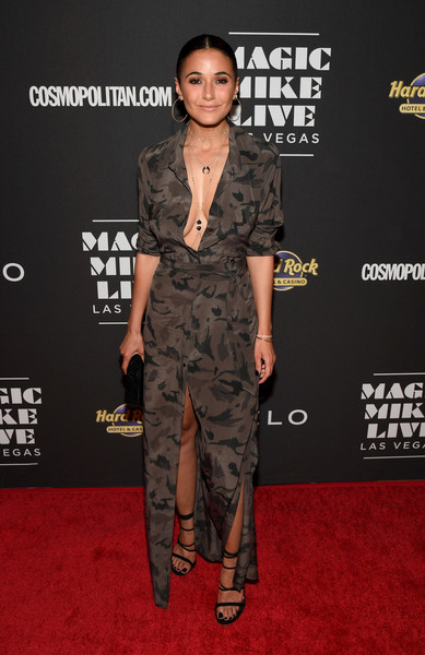 Emmanuelle Chriqui Strappy Sandals [magic mike live las vegas,red carpet,clothing,carpet,fashion,dress,premiere,shoulder,camouflage,fashion model,flooring,emmanuelle chriqui,las vegas,nevada,hard rock hotel casino,opening,grand opening]