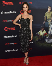 Ruby Modine looked sultry in a printed corset dress at the Emmy FYC event for 'Shameless.'