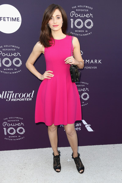 Emmy Rossum Ankle Boots [the hollywood reporter,clothing,dress,cocktail dress,pink,shoulder,magenta,fashion,footwear,fashion model,a-line,emmy rossum,arrivals,california,los angeles,hollywood reporter,milk studios,women in entertainment breakfast]